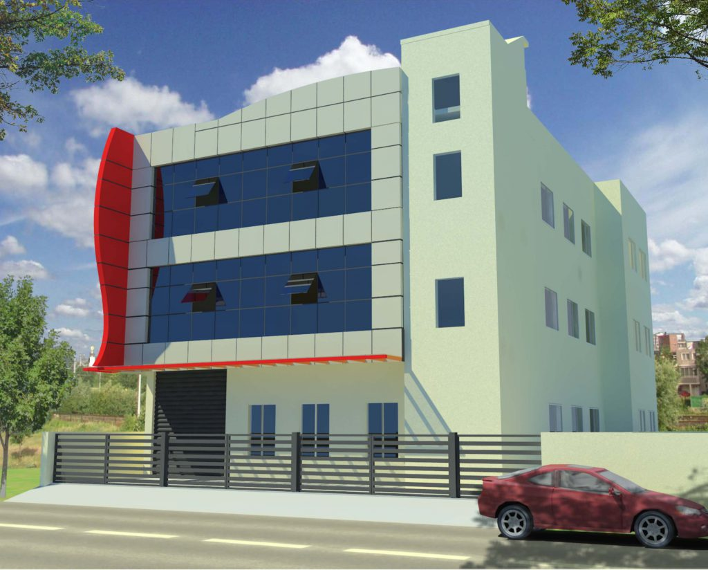 ARCHITECT DESIGN VIEW OF THE 3-STOREYED INDEPENDENT BUILDING