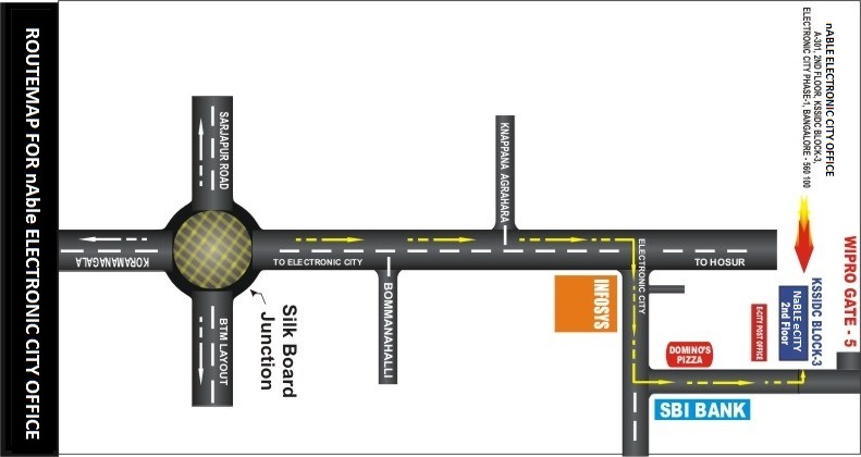 Routemap of nAble Electronic City, Bangalore Office
